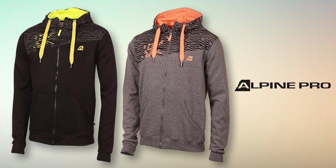 Pánská mikina Alpine Pro s farebnou kapucňou a zipsom