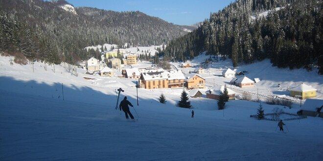 Zima v Slovenskom raji pri vleku s polpenziou