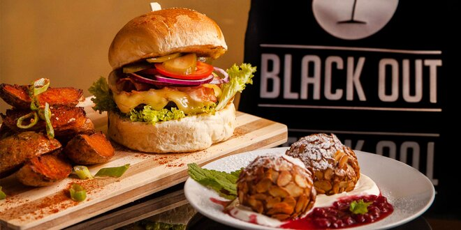 Hamburger s hovädzím alebo kuracím mäsom a s jedinečným domácim dezertom