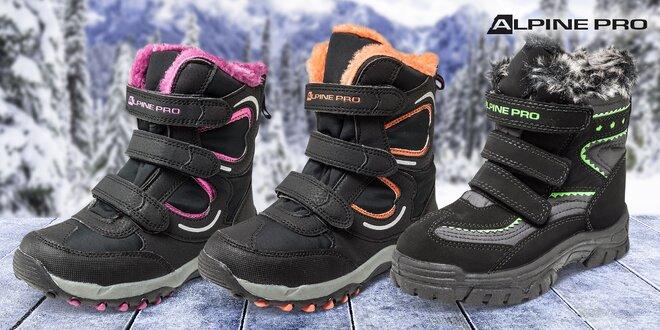 Zateplené nepremokavé detské topánky Alpine Pro  13b8e3e65e4