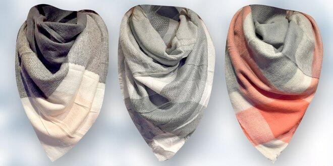 Maxi kárované bavlneno-vlnené šály