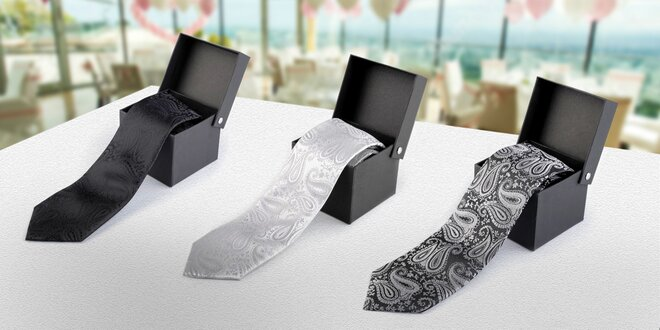 Pánska kravata v darčekovej krabičke