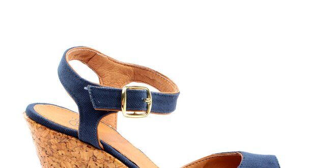3ae17e4c3e60 Dámske modré sandále na korkovej platforme Bagatt