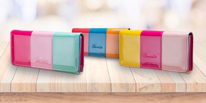 Lesklé trojfarebné peňaženky