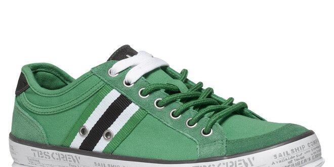 Pánske zelené textilné tenisky TBS  948a0caa9e7