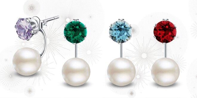Oceľové náušnice s perlou a kryštálmi Swarovski