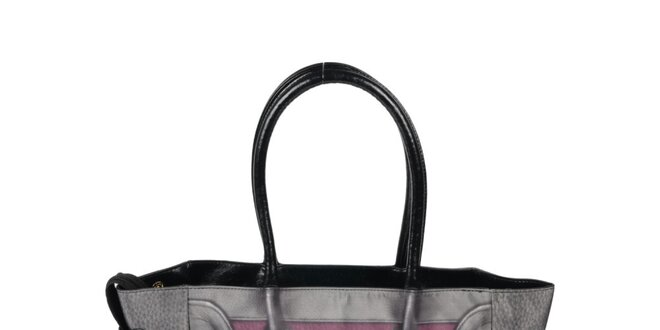 Dámska šedo-vínová kabelka s potlačou Marina Galanti
