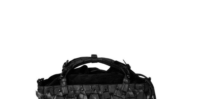 Dámska čierna kabelka s efektným vzorom Marina Galanti