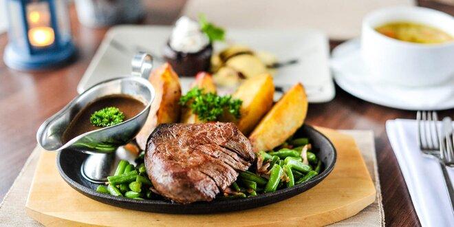 3-chodové menu s hovädzím steakom