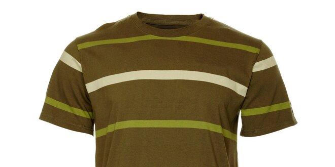 Pánske olivové tričko Hannah s prúžkami
