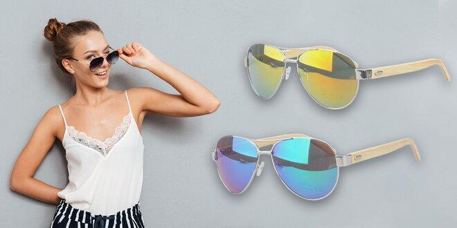 Štýlové slnečné okuliare Pilot - drevený rám!