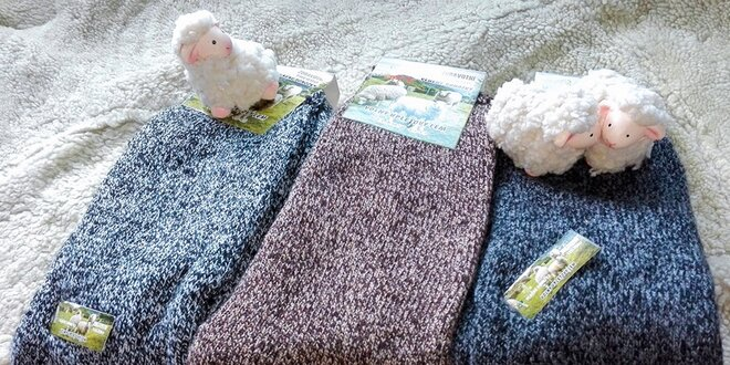 3 x Hrejivé pánske ponožky z ovčej vlny