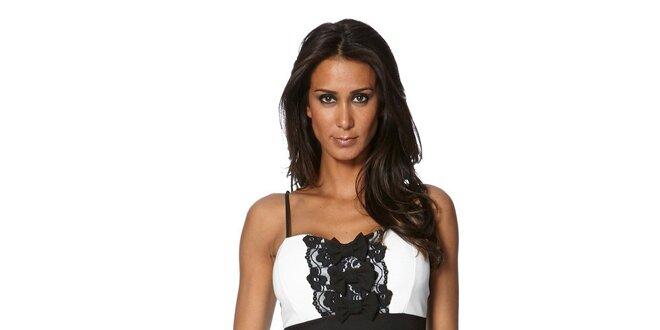 Dámske čierno-biele šaty S... with Swarovski s mašličkami a čipkou
