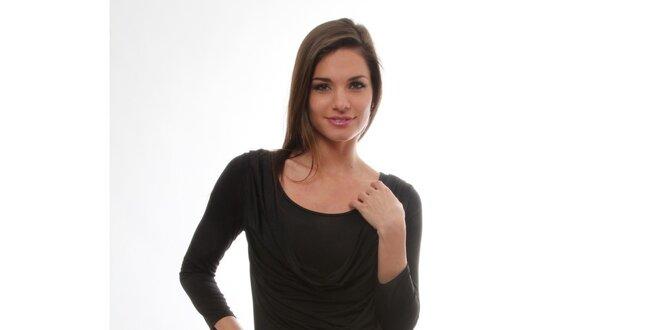 Dámske čierne šaty s vodovým predným dielom S...with Swarovski