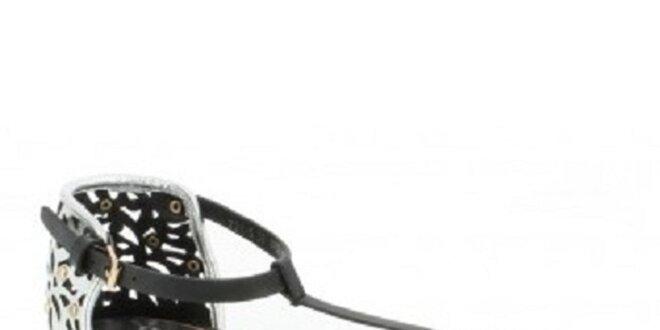 9da1ca2f96cd Dámske čierno-strieborné sandálky so zlatými cvočky Yook for you ...
