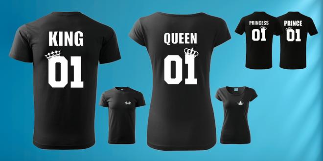 Párové tričká s potlačou King & Queen pre dospelých a Prince & Princess pre deti