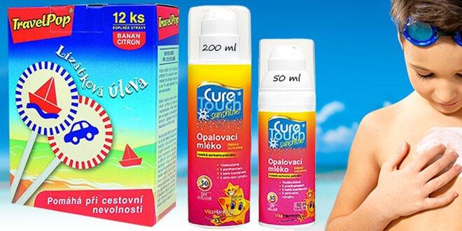 Opaľovacie mlieko pre deti a lízanky proti nevoľnosti