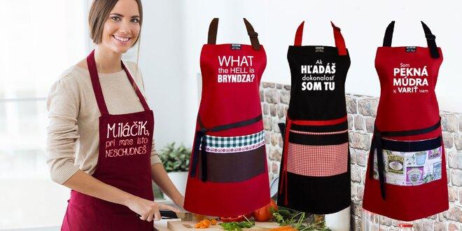 Šikovné zástery s vtipnými hláškami v krásnom darčekovom balení !