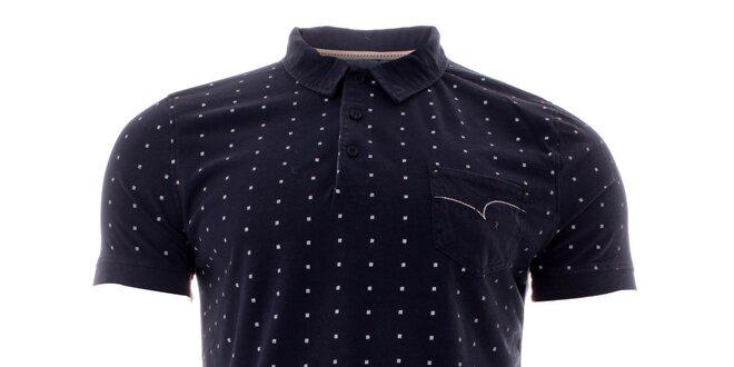 Pánske indigové polo tričko s bielymi bodkami Lee Cooper  a30fcc19a1b