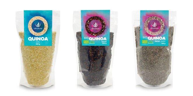 Allnature Quinoa biela, čierna alebo čierna vločky