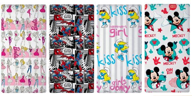 Detské plachty s Mickeym, Barbie a ďalšími postavičkami, rozmer 90 × 200 cm