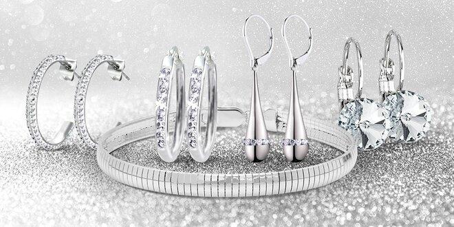 Oceľové šperky s kryštálmi Swarovski Elements - náušnice, náramok