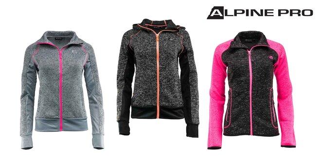 Dámske svetre na zips Alpine pro