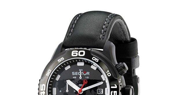 Pánske čierne náramkové hodinky Sector s koženým remienkom  2b411d2a50