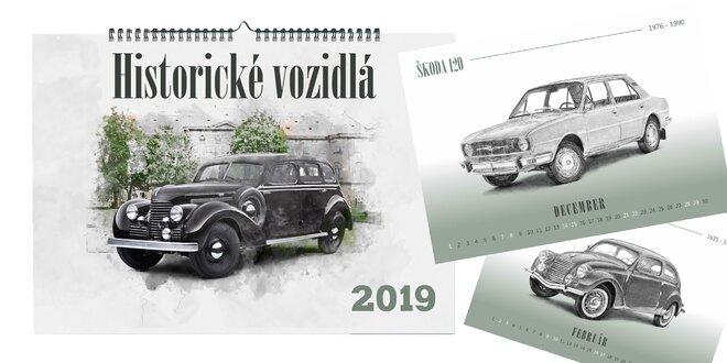 Kalendár - historické vozidlá v perokresbe