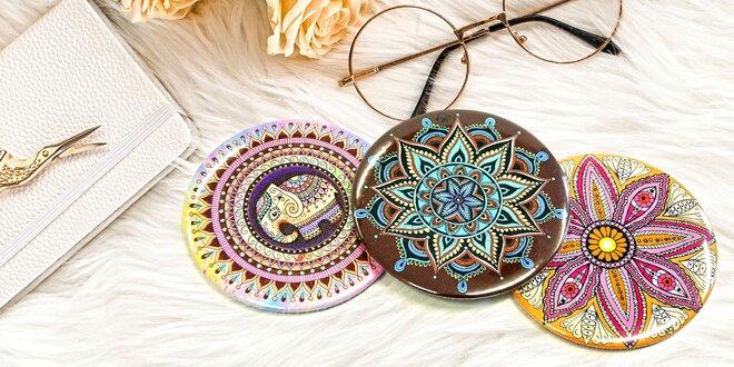 Ručne vyrábané vreckové zrkadlá s motívom mandal