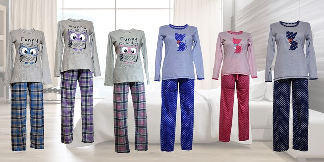 Dámske bavlnené pyžamo s veselým motívom