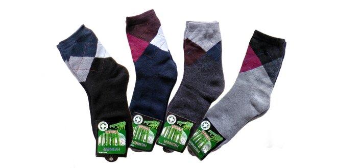 Termo bambusové ponožky so vzorom: 6 párov