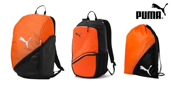 Oranžovo-čierne športové batohy a gymsack Puma