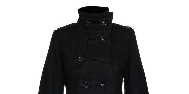 Dámsky čierny dvojradový zimný kabát  3471a4d4115
