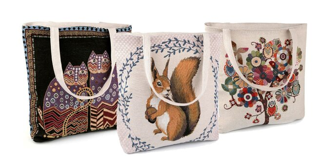 Ľanová taška s milými zvieratkami  4ad0ac2f5c3