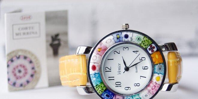 Krásne dizajnové hodinky z muranského skla  bcc7d81fb4e