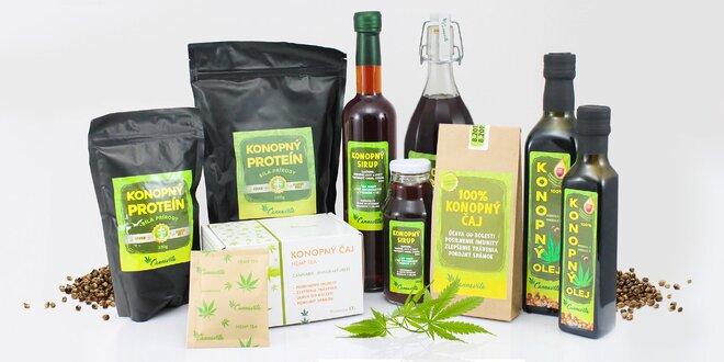 Konopný čaj, sirup, olej, proteín alebo 3-dielny balíček