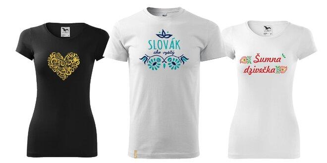 f763ce728861 Dámske alebo pánske tričko s výšivkou ľudových srdiečok
