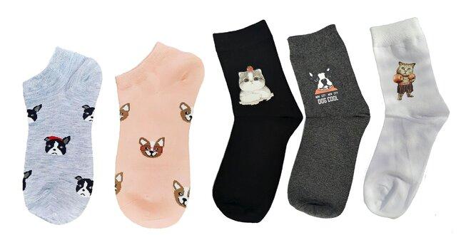 5 párov veselých dámskych ponožiek Animals