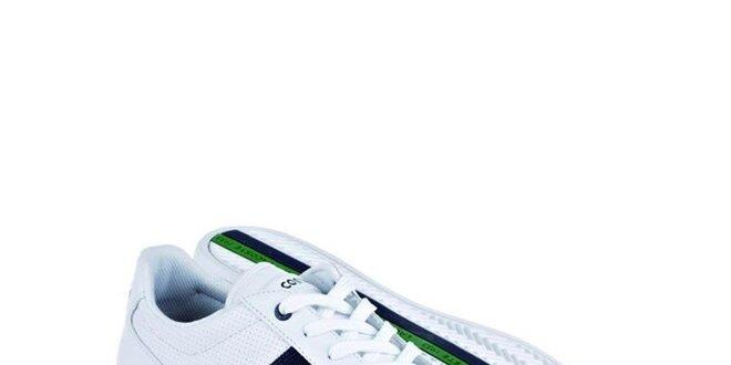 Pánske biele kožené tenisky s modro-zelenými detailami Lacoste