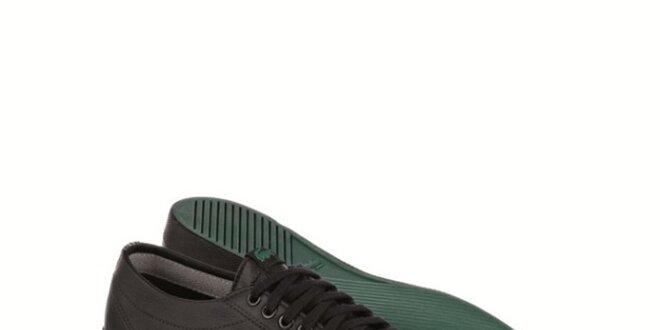 Pánske čierne kožené tenisky s logom Lacoste