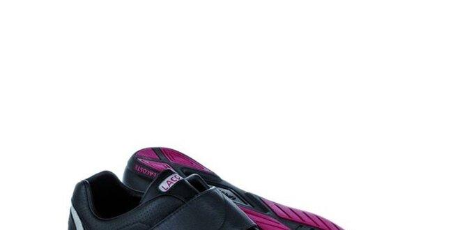Pánske čierne kožené tenisky so suchými zipsami Lacoste
