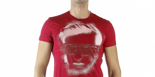 Pánske červené tričko Calvin Klein s potlačou