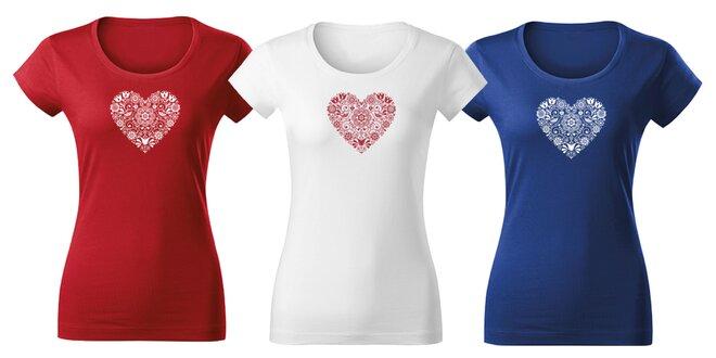 fe7e98437c55 Krásne dámske tričká s folklórnou potlačou
