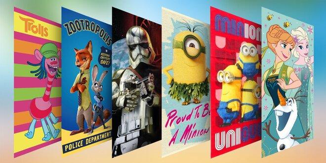 Bavlnené licenčné osušky pre deti i filmových fanúšikov