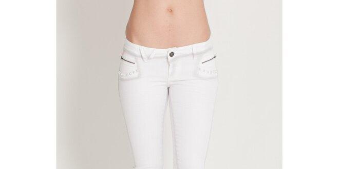 271cdb3124de Dámske biele elastické džínsy Lois so šedým tieňovaním a kovovými cvokmi