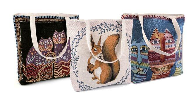 Ľanová taška s milými zvieratkami