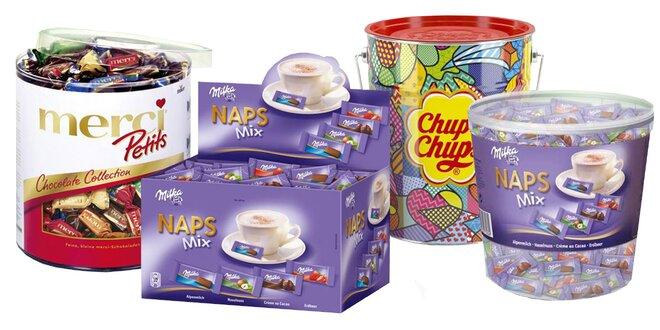 Veľké boxy cukroviniek Mentos, Merci i Chupa Chups