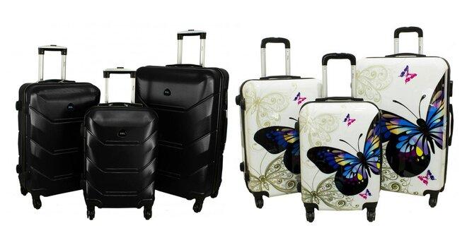 Sady kufrov na kolieskach: kozmetické aj škrupinové