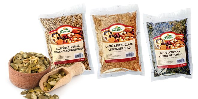 Rôzne druhy semienok pre teplú i studenú kuchyňu